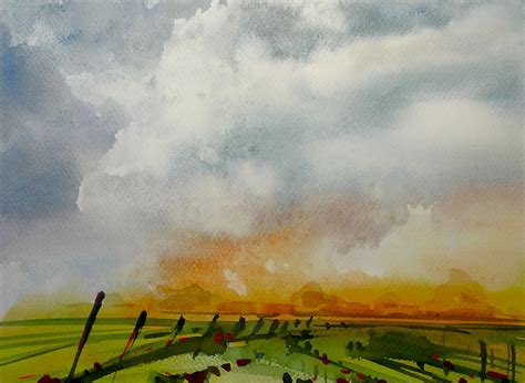 in paint watercolor sky landscape 20x speed painting