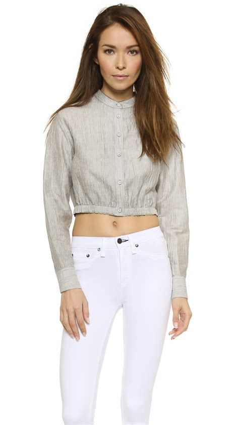 Baju Top Blouse Motif Striped Black White New Modis Impor rag bone slater cropped shirt in gray lyst