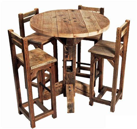 Rustic Bistro Table Furniture Rustic Small High Top Kitchen Table And Chair With High Legs And Back Ideas