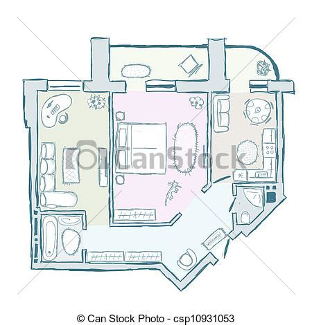draw your apartment clipart vector of sketch of design interior apartment vector csp10931053 search