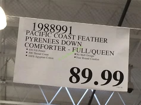 pacific coast feather pyrenees down comforter costco 1988991 pacific coast feather pyrenees down