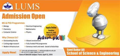 Mba Lums Admission 2015 by Admissions Open 2015 In Lums Lahore For Ms And Phd Degree