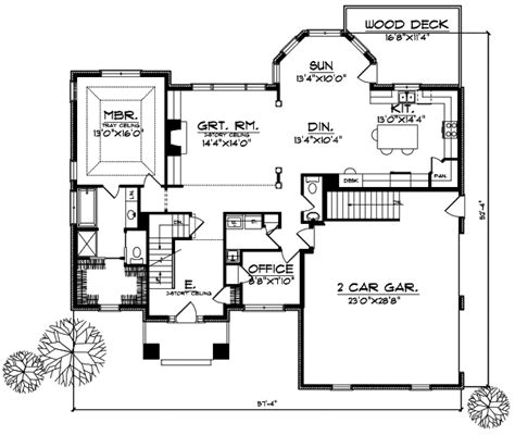 unique floor plan with central turret 23183jd 2nd contemporary style house plans 2271 square foot home 2