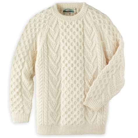 sweater pattern types the genuine hand knitted aran sweater hammacher schlemmer