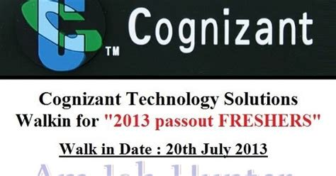 Walkins For Mba Freshers by Cognizant Technologys Walkin For Freshers Am