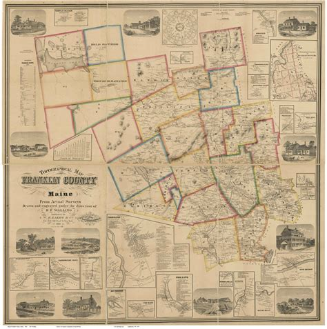 franklin map map of franklin co me 1861 wall map print