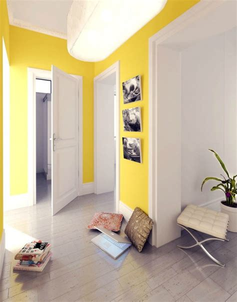 home design with yellow walls polish firm yellow and white hallway interior design ideas