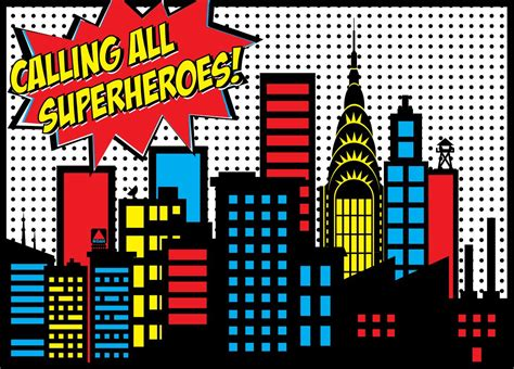 backdrop design avengers superhero city backdrops noah s superhero birthday