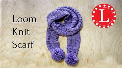 circle loom knitting scarf loom knit scarf on loom waffle stitch pom pom