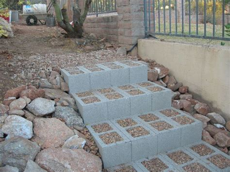 diy steps concrete block steps diy yard landscaping ideas on the side beaches