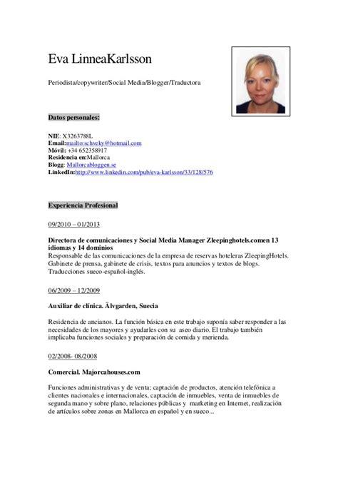 Modelo Cv Directivo España Curriculum Vitae October 2015
