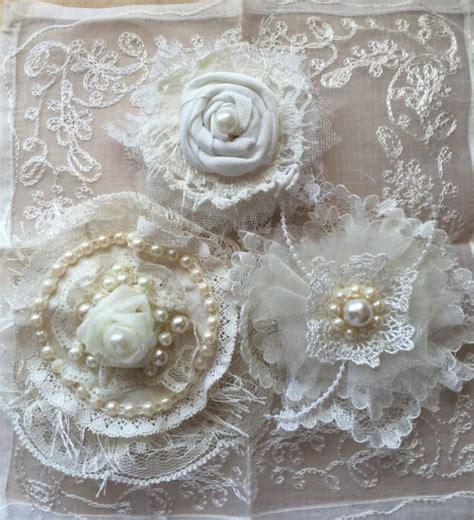 wedding hair flower wedding decor shabby chic fabric flower ivory lace bridal flower girl