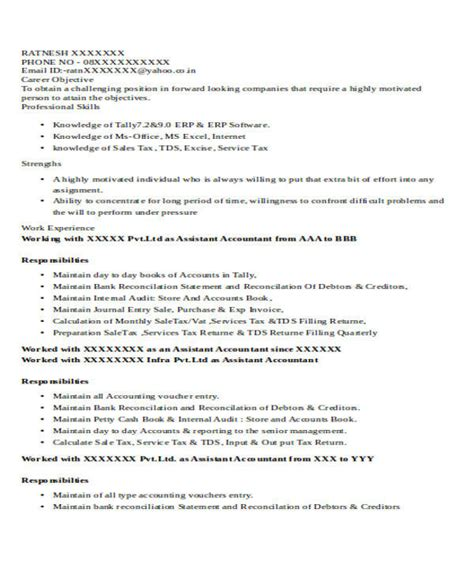 account assistant resume format 28 images best