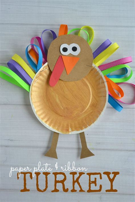 Turkey Papercraft - paper plate ribbon turkey kid craft thanksgiving