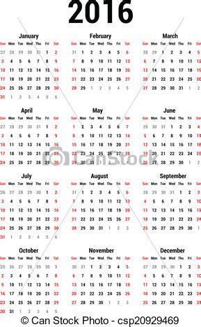 Calendrier Xtra 2016 Clip Vecteur De Calendrier 2016 Simple Calendrier