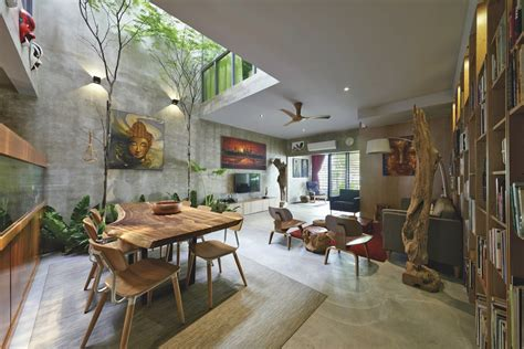 design inside of home trees and shrubs create faux courtyard inside house