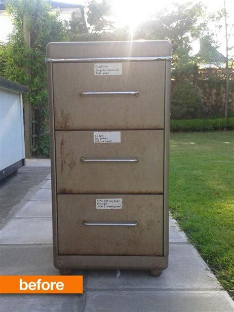 Before After Rusty Filing Cabinet Makeover Metal Metal Filing Cabinet Makeover