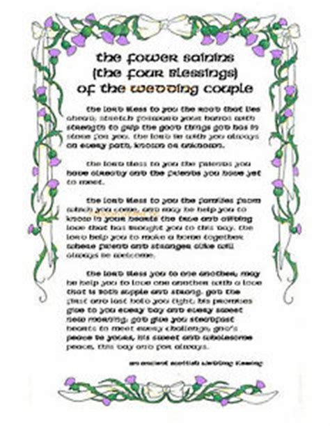 Wedding Blessing Prices by Ancient Scottish Wedding Blessing Print Four Blessings Of