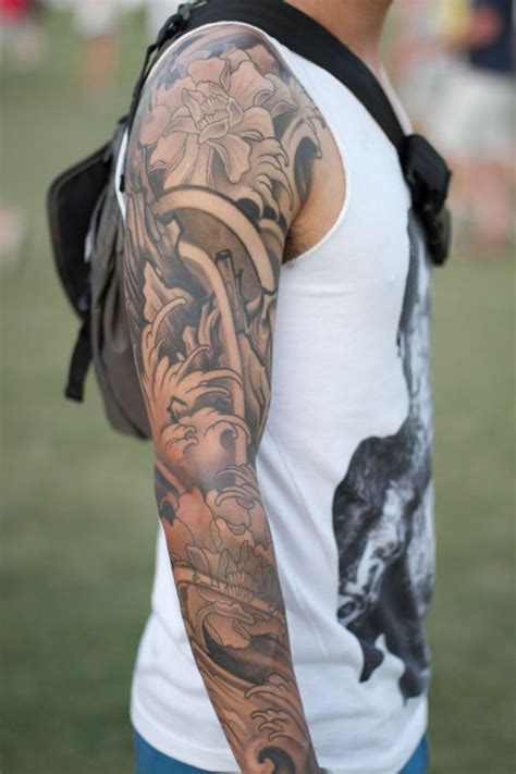 sleeve tattoo ideas black and grey for arms 5