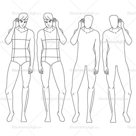 male fashion croquis template illustrator stuff