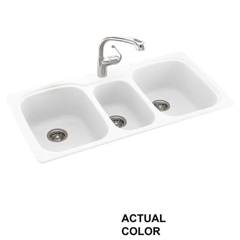 undermount kitchen sink with faucet holes drop in undermount composite 44 in 1 hole 40 20 40 triple bowl kitchen sink in white ks04422tb