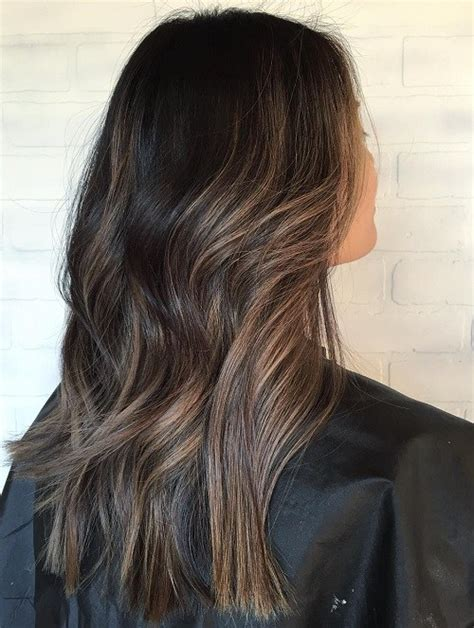 a line with subtle balyage highlights hair balyage 60 hairstyles featuring dark brown hair with highlights