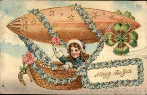 free vintage happy new year greeting cards elves with new year card 1908 in balloon what will matter