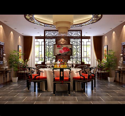 spacious modern chinese style dining room  model max