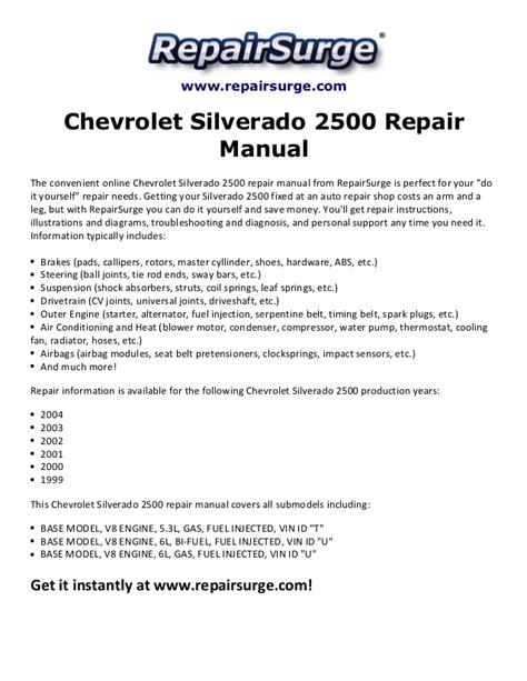 chevrolet silverado 2500 repair manual 1999 2004