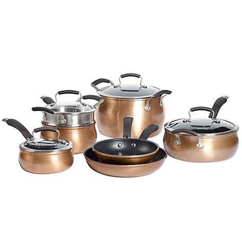 bed bath and beyond pots and pans epicurious aluminum nonstick 11 piece cookware set and