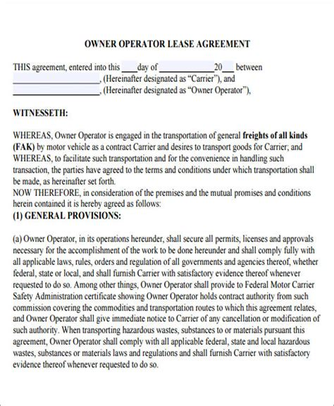 owner operator lease agreement template 7 owner operator lease agreement sle free sle
