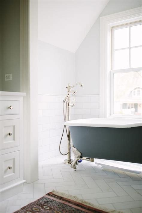 Long Bathroom with Carrera Marble Hexagon Tiles and Gray
