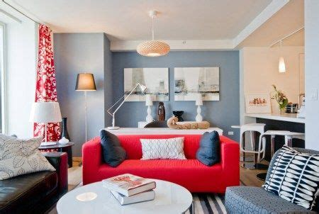 blue walls red couch red curtains red sofa blue walls lounge pinterest