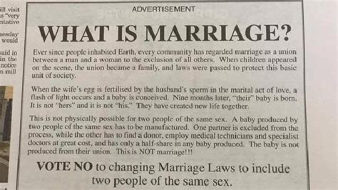 Anti Marriage Essay by Same Marriage Vote No Caigner Slammed In Fresh Drama
