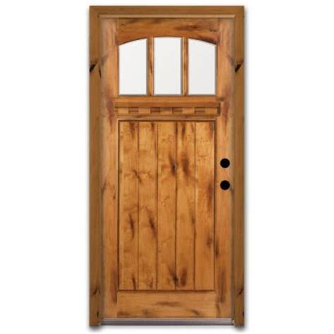 Home Depot Exterior Wood Doors Steves Sons Craftsman 3 Lite Arch Stained Knotty Alder Wood Prehung Front Door A4151 Aw Mj 6lh