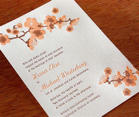 cherry blossoms wedding invitations new cherry blossom wedding invitation hana letterpress wedding invitation