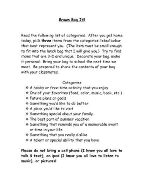 Bag Speech Outline by Brown Bag Speech Outline