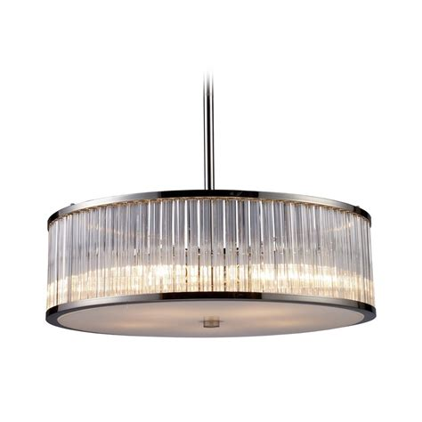 Drum Lighting Pendant Modern Drum Pendant Light With Clear Glass In Polished Nickel Finish 10129 5 Destination