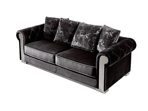 black velvet tufted sofa amara modern black velvet sofa loveseat w grey piping
