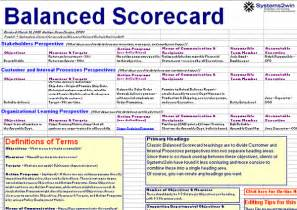 Balanced Business Scorecard Template Balanced Scorecard Template Excel