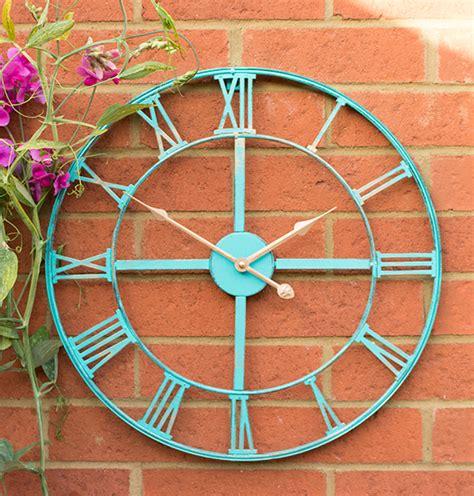 orologi da giardino orologio da giardino metallico in finitura patina turchese