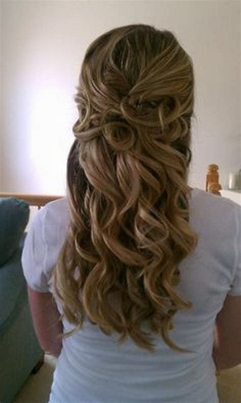 homecoming hairstyles for long hair half up prom hairstyles curly half up