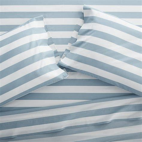 blue and white striped comforter bedroom four pottery barn