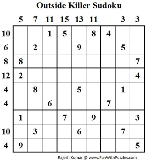 printable outside sudoku outside killer sudoku fun with sudoku 46 fun with puzzles