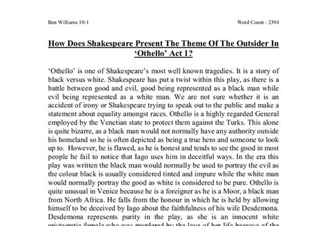 themes present in othello how does shakespeare present the theme of the outsider in