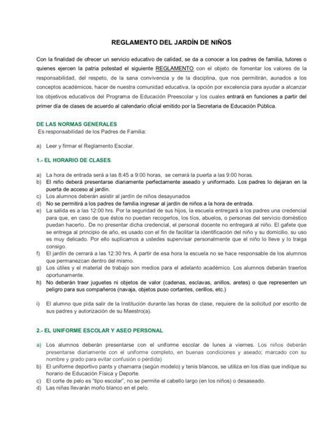 reglamento interno de escuelas preparatorias oficiales 2 reglamento del jard 205 n de ni 209 os