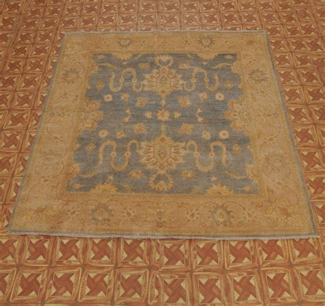 Rug 8x8 by Pastel Blue Pale Gold 8x8 Square Rug Knotted