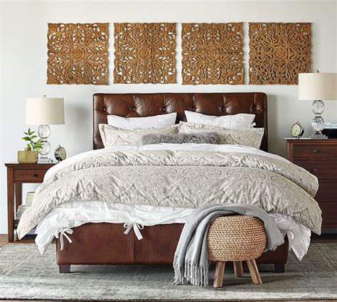lorraine tufted headboard lorraine tufted leather low bed pottery barn