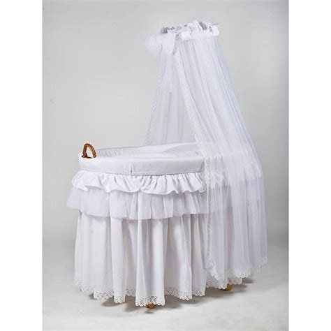 Mj Crib by Mj Titania Wicker Crib White Pom Pom Baby Baby