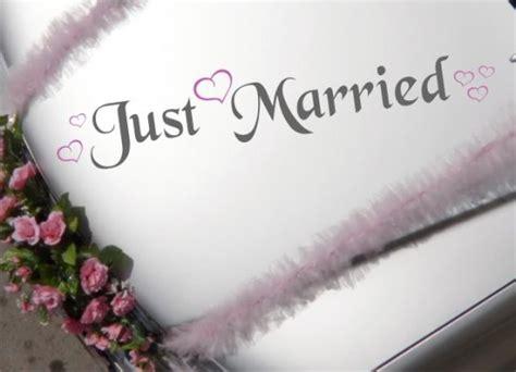 autoschmuck hochzeit just married autoaufkleber hochzeit just married mit herzen xl 2 farbig